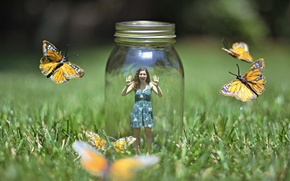 Picture girl, butterfly, nature, the situation, Bank
