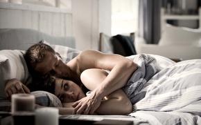 Picture bed, hug, Comedy, Til Schweiger, Nora Cherner, Handsome