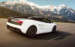 Picture Lamborghini, Gallardo, Speed, Mountains, Supercar, Motion, LP560-4, Rolling, Rear, Tracking