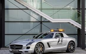 Picture machine, silver, Mercedes, safety car, mercedes-benz sls amg, gt f1