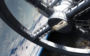 Picture planet, spacestation, orbit