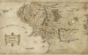 Picture paper, map, The Lord of the rings, The Lord of the Rings, Middle earth, Middle-earth, ...