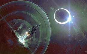 Picture space, portal, stars, spaceship, planet, anonymous, sputnics