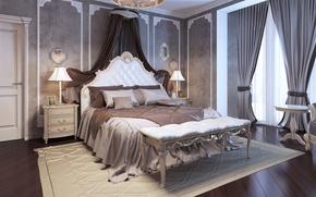 Picture design, style, furniture, Villa, bed, curtains, luxury, Design, bedroom, luxury, Interior, Bedroom