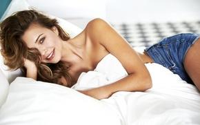 Picture girl, bed, lies, beautiful, Sandra Kubicka