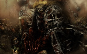Picture death, blood, armor, skull, chaos, warhammer, madness, Word Bearers, bearing the word, 40 thousand, 40k, …