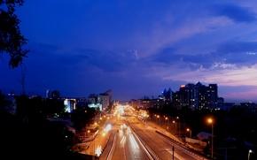 Picture road, night, lights, excerpt, Almaty