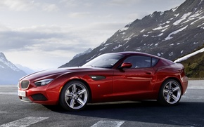 Wallpaper the sky, mountains, red, coupe, BMW, BMW, Coupe, the front, Zagato, Zagato