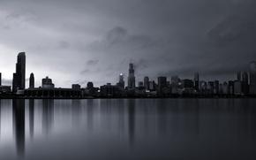 Picture fog, building, skyscrapers, America, Chicago, Chicago, USA, skyscrapers, Michigan