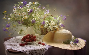 Wallpaper hat, still life, chamomile, bouquet, summer, cherry