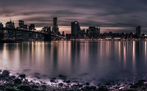 Picture night, bridge, the city, lights, river, shore, panorama, bridges