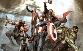 Picture Hulk, Iron Man, Marvel, Captain America, Thor, concept art, Black Widow, hawkeye, The Avengers, the ...
