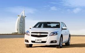 Picture Sand, Beach, Auto, White, Chevrolet, Day, Dubai, The front, Malibu