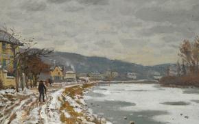 Picture landscape, river, The Seine at Bougival, winter, picture, Claude Monet