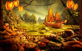 Picture kitchen, food, fantasy, Japan