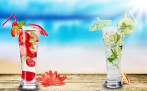 Wallpaper shell, strawberry, lime, glasses, starfish, Mojito, strawberry Mojito