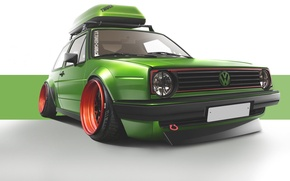 Picture green, volkswagen, wheels, Golf, golf, tuning, front, gti, classic, face, germany, low, r32, stance, mk2, …