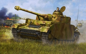 Wallpaper tank, ww2, painting, Pzkpfw IV Ausf. H, war, art