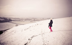 Wallpaper winter, girl, snow, photo, girls, mood, hills, mood, walk