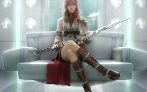Wallpaper girl, sword, warrior, art, final fantasy xiii