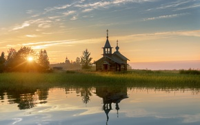 Picture summer, the sun, light, dawn, morning, Church, Karelia, Kizhi
