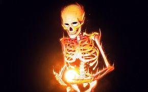 Picture fire, flame, skull, minimalism, skeleton