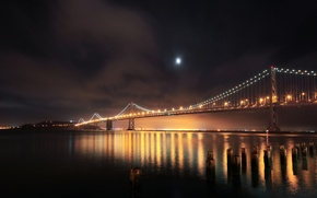 Picture night, bridge, lights, river, San Francisco, piles, USА, South Beach