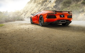 Picture Lamborghini, Orange, Car, Sun, LP700-4, Aventador, Road, Rear