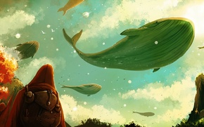 Picture the sky, people, fiction, whales