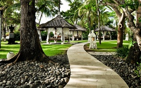 Picture Park, stones, Nature, garden, track, trees, park, garden, path, gazebos
