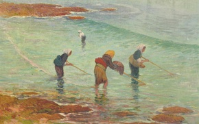 Picture sea, women, fishing, picture, genre, Henri Moret, Fisherwomen