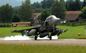 Wallpaper Home, Photo, Grass, The plane, Trees, Fighter, You can, Strip, Gripen, Multipurpose, The airfield, The ...