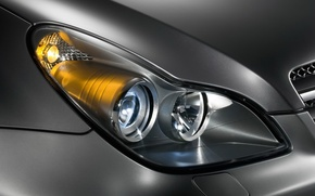 Wallpaper machine, Mercedes-Benz, headlight, CLS, C219, metalik