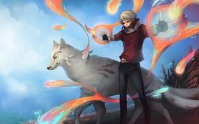 Picture magic, wolf, art, guy, madara, natsume yuujinchou, natsume takashi, UdonNodu