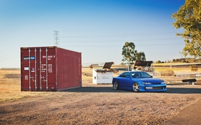 Picture blue, container, S15, Silvia, Nissan, Nissan, blue, front, Silvia
