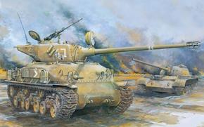 "Picture art, tank, action, combat, last, average, T-54, Sinai, tanks, most, powerful, M51 ""ISherman"", ""Sherman"", 1967.figure, …"