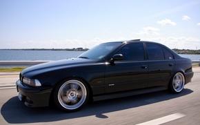 Picture road, BMW, Sedan, drives, Black, E39