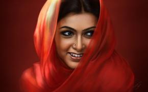 Picture girl, red, smile, portrait, India, saree