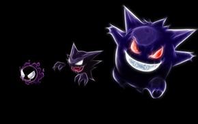 Picture haunter, pokemon, pokemon, gastly, neon lines, gengar, gengar, gastly, hunter