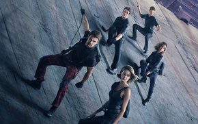 Picture fiction, wall, rope, poster, Theo James, Theo James, Shailene Woodley, Divergent, Shailene Woodley, Ansel Elgort, …