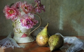 Picture flowers, still life, pear