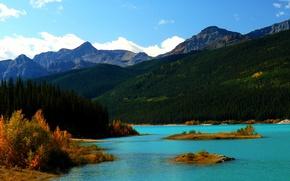 Picture autumn, the sky, trees, mountains, lake