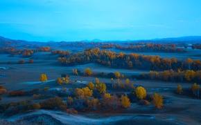 Picture autumn, the sky, trees, hills, the evening