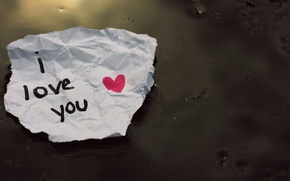 Wallpaper I love you, note