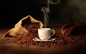 Picture coffee, spoon, Cup, bag, coffee beans, coffee, spoon, Cup, bag, blade, coffee aroma, shoulder, coffee …