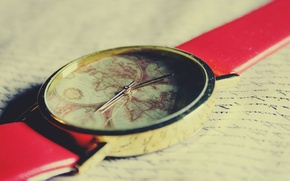 Picture world, red, vintage, retro, old, map, clock