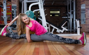 Picture stretching, girl, the gym, smile