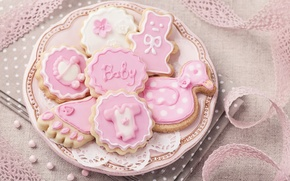 Picture decoration, pink, cookies, pink, sweet, glaze, baby, cookies, delicate