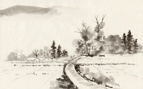 Picture trees, bridge, river, shore, Japan, village, Painting