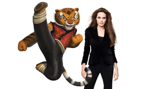 Picture actress, Angelina Jolie, Angelina Jolie, white background, Tigress, in black, Kung Fu Panda, Kung fu …